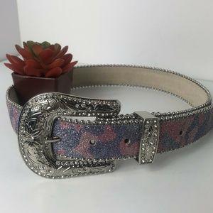 Blazin Roxx Women Pink Silver Camo Western Belt si